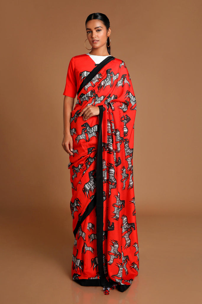 Red Horse Saree With  Blouse Piece