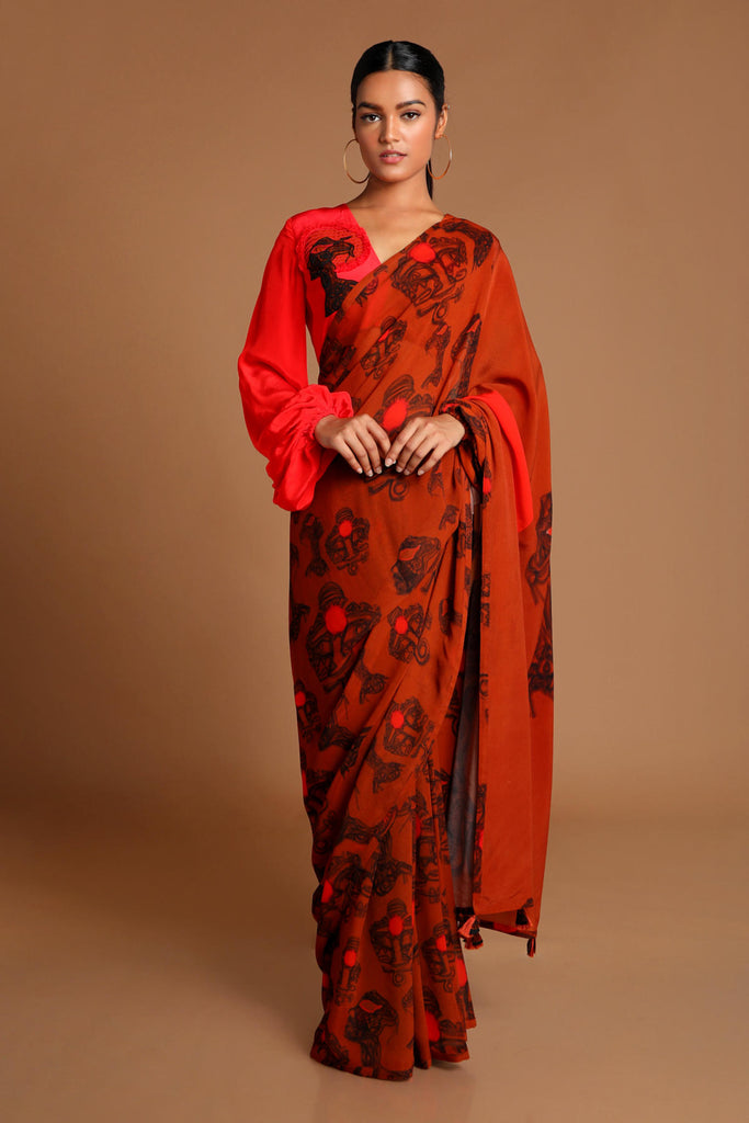 Brown Faces Saree with Half & half Red Blouse Piece