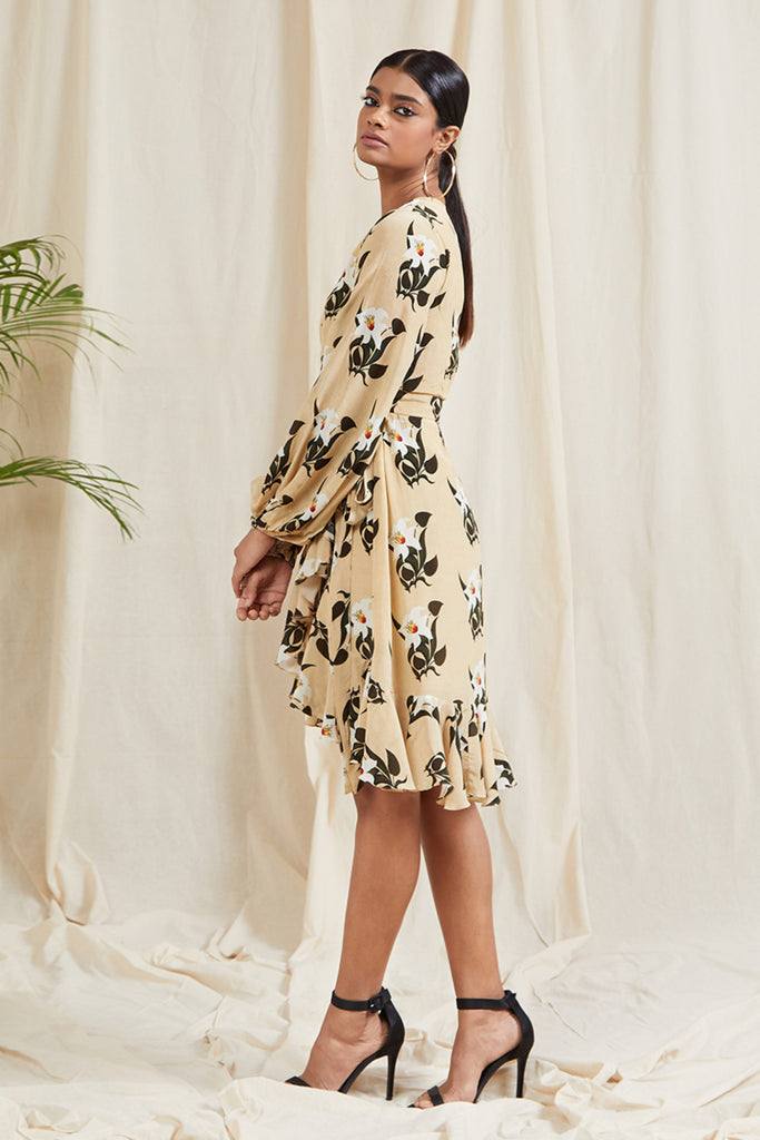 Ivory Pearl Blooming Flower Wrap Dress