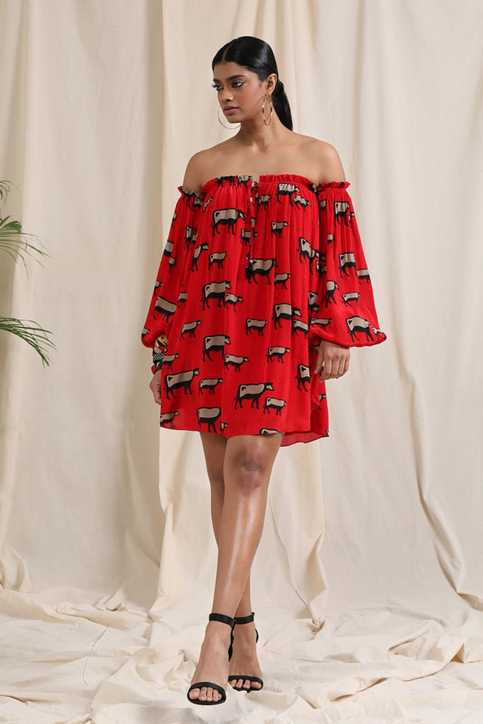 Red Cow Off-Shoulder Dress