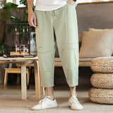 JDDTON Men's Cotton Linen Harem Pants Jogger Trousers Casual Loose Style Bloomers Fashion Drawstring Solid Splice Trousers JE146