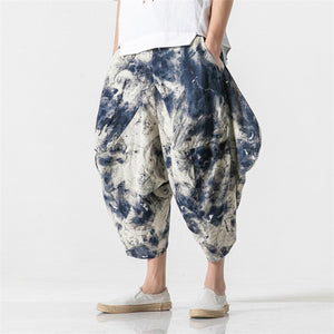 JDDTON Men's Cotton Linen Harem Ankle-Length Printing Pants Jogger Trousers Casual Track Loose Bloomers Fashion Streetwear JE165
