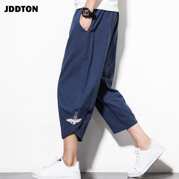 JDDTON Men Summer Cotton Linen Embroidery Harem Pant Fashion Low Gear Baggy Casual Loose Cropped Pants Drawstring Trousers JE074