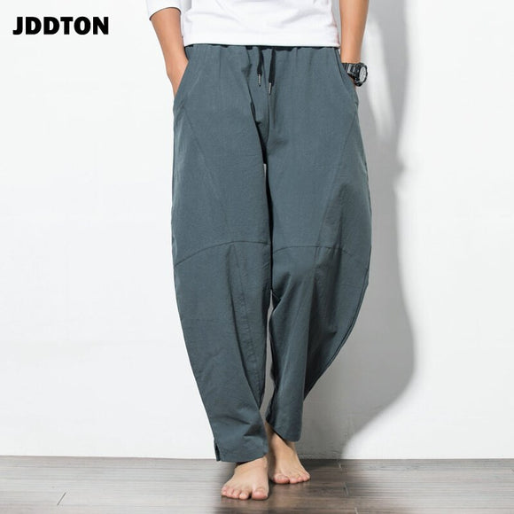 JDDTON 2020 New Men's Summer Linen Harem Solid Pants Fashion Baggy Casual Loose Breathable Pants Drawstring Long Trousers JE018