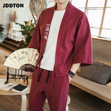 JDDTON Mens Summer Cotton Linen Kimono Embroidery Leisure Cardigan Outwear Haori Chinese Jackets Thin Traditional Clothing JE047