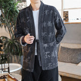 JDDTON Spring Men's Spring Linen Kimono Fashion Loose Cardigan Letter Outerwear Coats Male Jackets Denim Casual Overcoat JE030