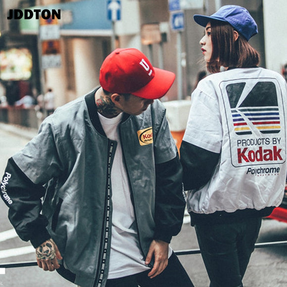 JDDTON New Hot Men Women's Bomber Jackets Fit Casual Fashion Hip Hop Street Vintage Overcoats Male Female Splice Outwear JE274