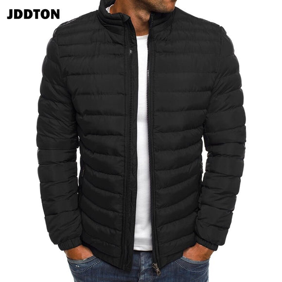 JDDTON Men Cotton Clothing Loose Thick Jacket Windproof Thermal Windbreaker Solid Color Warm Coats Male Streetwear EU Size JE364