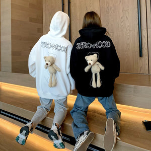 Privathinker INS Style Men Women Hoodies With Bear Doll 2020 Korean Couple Man Loose Black White Hooded Sweatshirts Harajuku Top