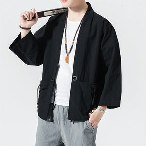 JDDTON Spring Men's Linen Kimono Fashion Loose Long Cardigan Outerwear Vintage Coat Male Jackets With Belt Casual Overcoat JE026