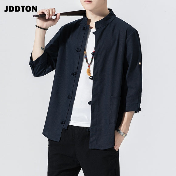 JDDTON Spring Men Linen Kimono Fashion Loose Long Cardigan Outerwear Vintage Coat Male Jackets Casual Solid Slim Overcoats JE103