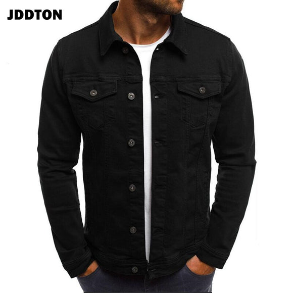 JDDTON Men's Denim Jackets Fashion Brand Cardigan Spring Autumn Casual Windbreaker Slim Fit Coats Male Overcoat Streetwear JE267