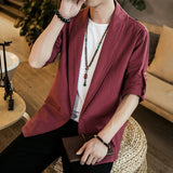 JDDTON Autumn Men Kimono Open Linen Jackets Solid Outerwear Thin Coats Loose Casual Male Long Sleeve Retro Loose Overcoats JE140