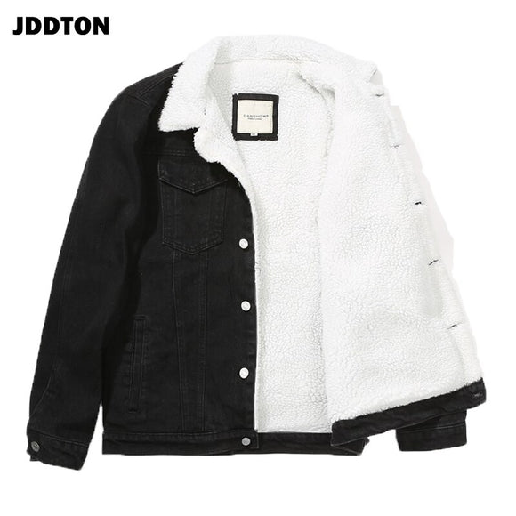 JDDTON Men's Denim Jackets Casual Male Loose Loog Sleeve Windbreaker Warm Coats Hip Hop Outwear Thick Jean Streetwear 6XL JE524