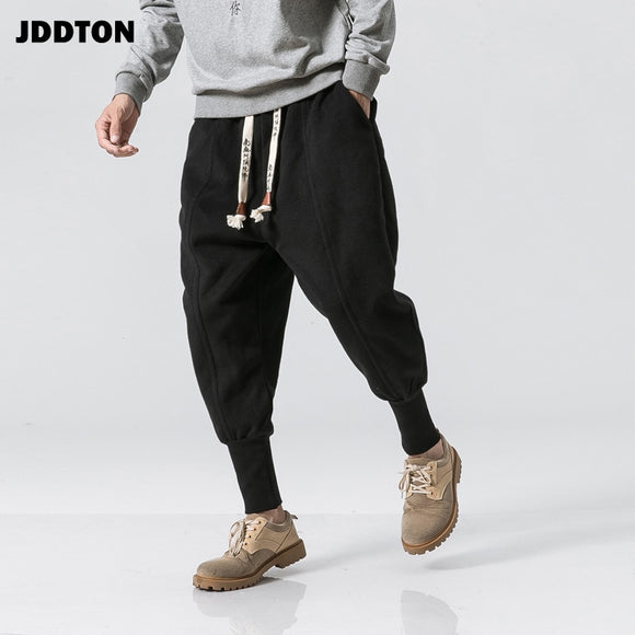 JDDTON Men's Harem Pants Chinese Style Harajuku Ankle Banded Jogger Sweatpants Loose Casual Male Streetwear Thick Trousers JE150