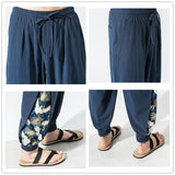 JDDTON Summer Men's Cotton Linen Pants Chinese Style Casual National Pant Hip Hop Fashion Ankle Length Trousers Streetwear JE477