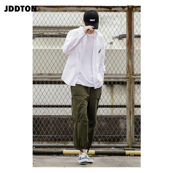 JDDTON Men's Jogger Cargo Pants Overalls Loose Casual Hip Hop Fashion Japanese Trendy Comfortable Women Trouser Streetwear JE551
