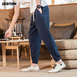 JDDTON Summer Men's Cotton Linen Haram Pants Beam Foot Pant Casual Hip Hop Ankle Length Streetwear Male Breathable Trouser JE452