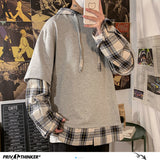 Privathinker Korean Men Plaid Hoodies Oversized Man Casual Loose Hooded Sweatshirts Fashion Checked Men Pullovers Hoodies