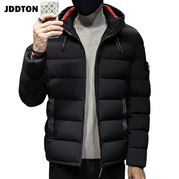 JDDTON Men's Cotton Clothing Hooded Jacket Windproof Casual Man Thermal Windbreaker Printing Male Fashion Coat Streetwear  JE370