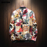 JDDTON New Spring Autumn Mens Fashion Printing Jackets Standing Collar Loose Streetwear Coats Casual Male Outwear Clothing JE110