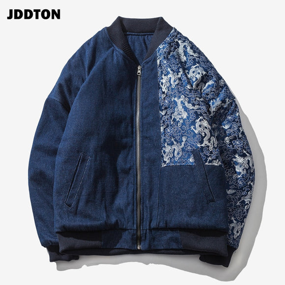 JDDTON New Hot Mens Bomber Jeans Thick Print Jackets Cotton Fit Casual Fashion Vintage Denim Overcoats Male Splice Outwear JE131