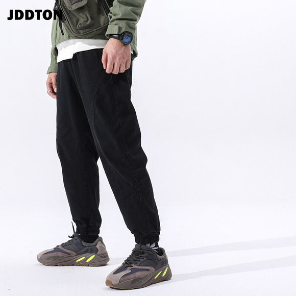 JDDTON Men's Beam Foot Cotton Pants American Style Full Length Loose Thin Male Fashion Casual Overalls Trousers Streetwear JE107