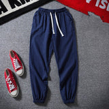 JDDTON Summer Men's Cotton Linen Pants Chinese Style Casual Thin Pant Hip Hop Fashion Male Ankle Length Trouser Streetwear JE468