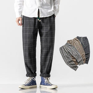 JDDTON Autumn Men Lattice Thick Pants Chinese Style Casual Pant Hip Hop Fashion Male Ankle Length Trouser Loose Streetwear JE475