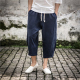 JDDTON Men's Summer Linen Cropped Cross Pants Fashion Wide-Legged Baggy Casual Loose Big Pocket Pants Drawstring Trousers JE025