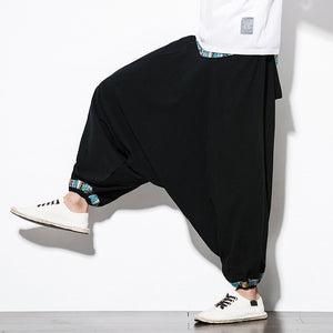 JDDTON Mens Patchwork Pants Sweatpant Casual Chinese Style  Jogger Streetwear Loose Black Cotton Pant Hip Hop Male Trouser JE328