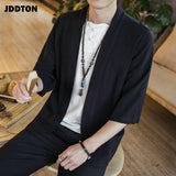 JDDTON Men's Cotton Kimono Fashion Loose Cardigan Solid Slim Outerwear Vintage Chinese Style Male Jackets Casual Overcoats JE125