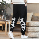 JDDTON Autumn Men's Cotton Linen Retro Harem Pants Jogger Printing Trousers Traditional Casual Loose Fashion Male Trousers JE130
