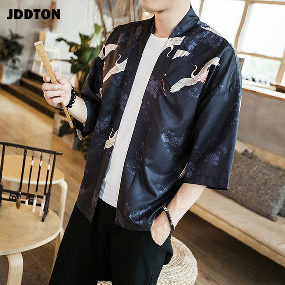 JDDTON Spring Men Kimono Fashion Loose Long Cardigan Print Outerwear Open Stutch Vintage Coat Male Jackets Casual Overcoat JE028