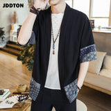 JDDTON Men's Cotton Linen Kimono Jackets Leisure Cardigan Streetwear Shirts Japanese Samurai Traditional Casual Coats 5XL JE011