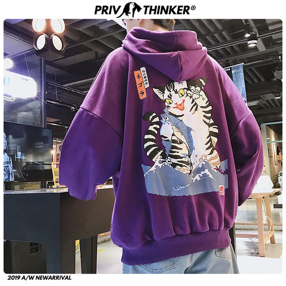 Privathinker Japanese Funny Cat Hoodies Men 2020 Women Autumn   Oversized Hooded Sweatshirts Hip Hop Streetwear Black Hoodie