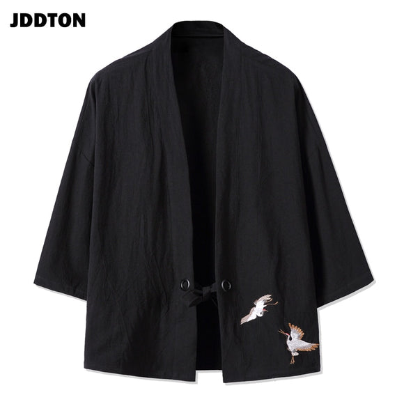 JDDTON Spring Men's Cotton Linen Kimono Fashion Loose Long Cardigan Outerwear Vintage Coats Male Jackets Casual Overcoats JE077