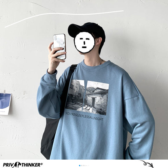 Privathinker Graphic Printed Men Hoodies 2020 Autumn New Men's Vintage Sweatshirts Korean Style Man Streetwear Casual Pullovers