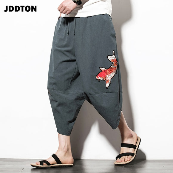 JDDTON New Men's Summer Linen Harem Squid Embroidery Pants Fashion Low Gear Baggy Casual Loose Pants Drawstring Trousers JE015