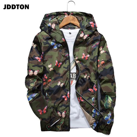 JDDTON Men Camouflage Hoodie Jacket Loose Clothes Sunscreen Hooded Windbreaker Male Butterfly Print Coat Casual Streetwear JE168