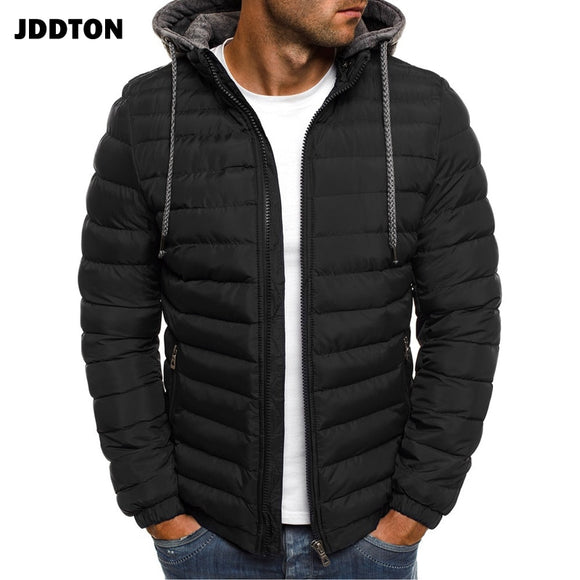 JDDTON Mens Hooded Cotton Clothing Hoodies Jacket Windproof Thermal Windbreaker Solid Color Male Coats Streetwear EUR Size JE369