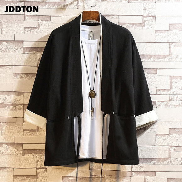 JDDTON Men's Cotton Kimono Loose Cardigan Solid Color Outerwear Vintage Chinese Style Male Jacket Fashion Casual Overcoats JE614