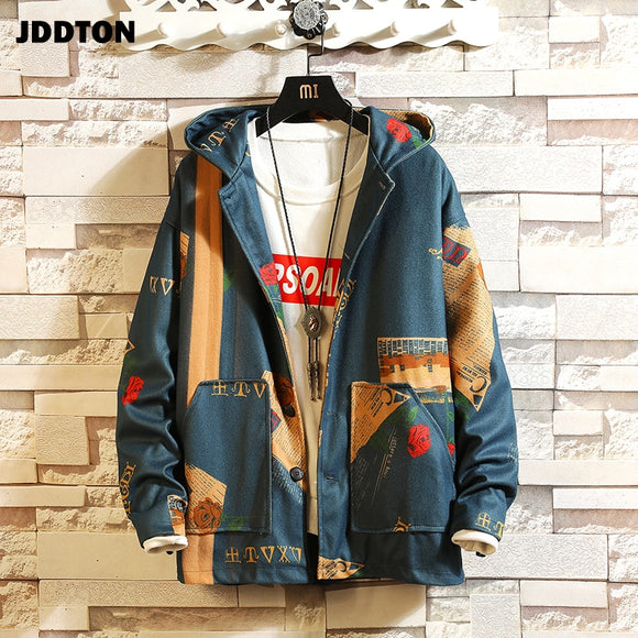 JDDTON Autumn Men's Hooded Bomber Jackets Hoodie Full Printing Windbreaker Casual Hip Hop Fashion Clothing Male Streetwear JE214