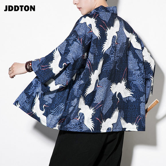 JDDTON Spring Men's Cotton Linen Kimono Printed Loose Long Cardigan Outerwear Vintage Coats Male Jackets Casual Overcoats JE088