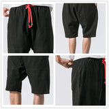 JDDTON Summer Men's Cotton Linen Shorts Chinese Style Loose Comfortable Soft Short Breathable Soild Casual Male Streetwear JE124
