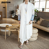 JDDTON Men's Chiffon Windbreaker Kimono Vintage Long Length Jackets Chinese Style Loose Sunscreen Male National Streetwear JE169