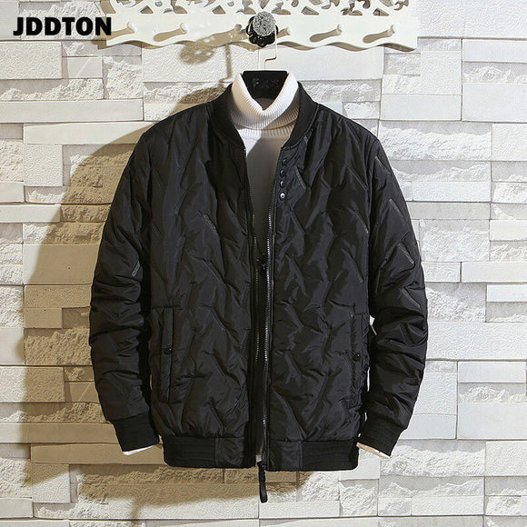JDDTON Winter Men's Baseball Collar Jacket Thick Windproof Korean Style Thermal Solid Color Windbreaker Fashion Streetwear JE582