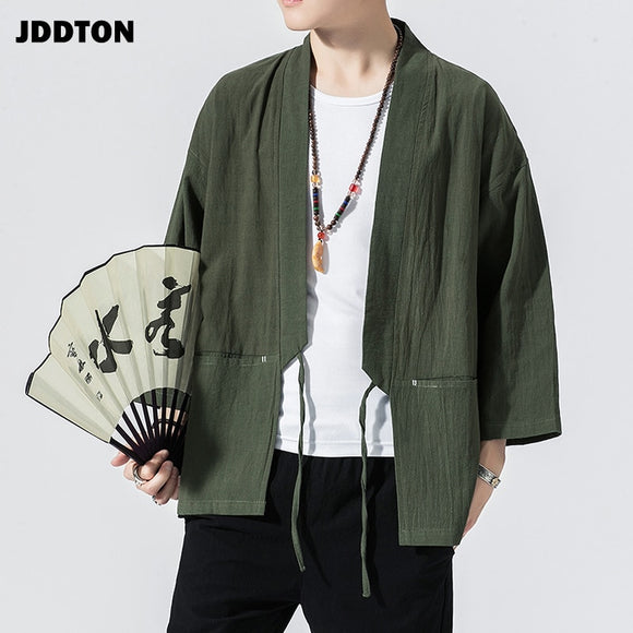 JDDTON Men's Kimono Open Linen Jackets Solid Color Outerwear Thin Belt Coats Loose Casual Male Long Sleeve Retro Overcoats JE113