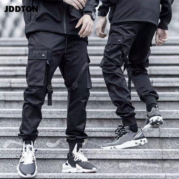 JDDTON Men's Solid Color Pants Sweatpant Velcro Streetwear Casual Overalls Loose Paratrooper Pants Male Beam Foot Trousers JE311