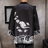 JDDTON New Summer Men Cotton Linen Kimono Print Loose Fashion Long Cardigan Outerwear Vintage Coats Casual Male Overcoats JE092